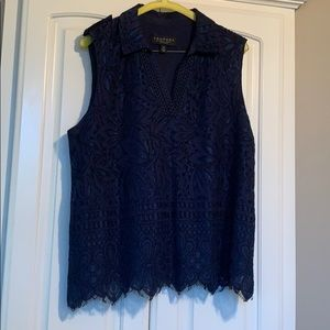 Laundry by Shelli Segal Blue Sleeveless Lace Top